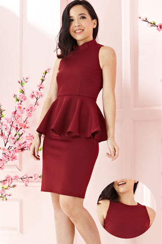 Twenty3 - Phyllis Cheongsam Peplum Bodycon Dress in Burgundy -  - Dresses - 1