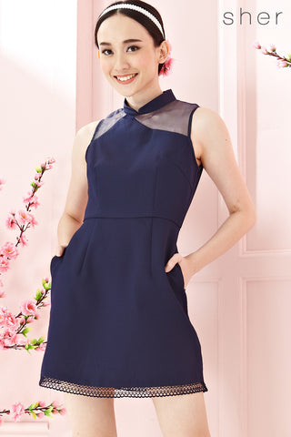 Twenty3 - Emmalle Organza Panel Cheongsam in Navy Blue -  - Dresses - 1