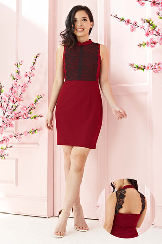 Twenty3 - Arielle Lace Panel Bodycon Cheongsam in Burgundy -  - Dresses - 1