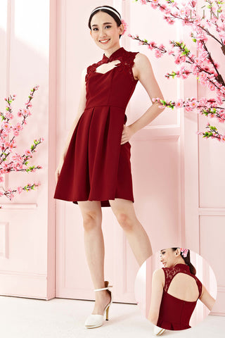 Twenty3 - Auspicia Lace Panel Cheongsam Skater Dress in Burgundy -  - Dresses - 1