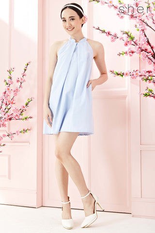 Twenty3 - Dayle Pleat Front Shift Dress in Light Blue -  - Dresses - 1