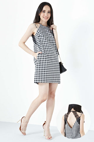 Twenty3 - Jillian Lace Straps Shift Dress in Gingham -  - Dresses - 1