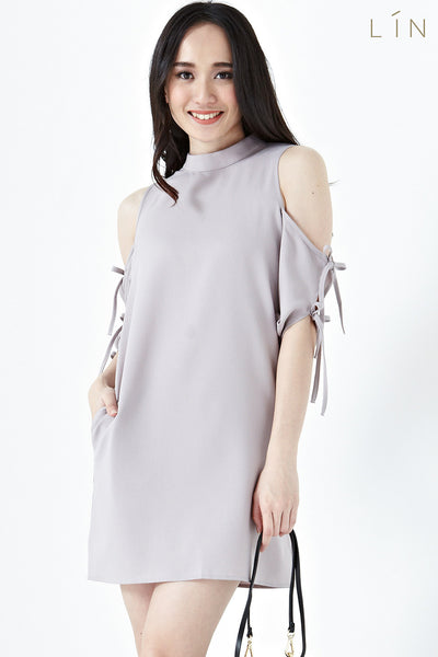Twenty3 - Ruth Ribbon Cold Shoulder Sleeves Shift Dress in Taupe -  - Dresses - 1