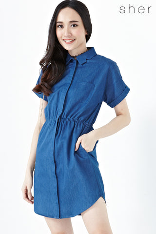 Daenerys Short Sleeves Sheath Dress in Denim - Dresses - Twenty3