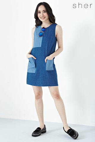 Brynn Colour Block Shift dress in Dark Denim - Dresses - Twenty3