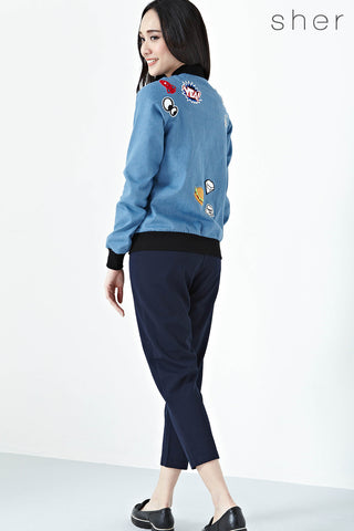 Twenty3 - Ophelia Contrast Hem Jacket with Patches in Denim -  - Outerwear - 1