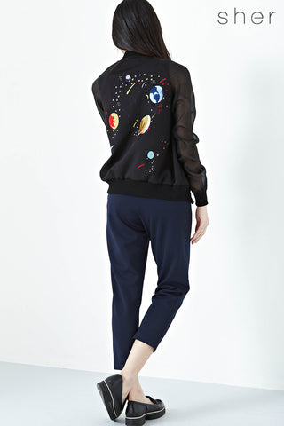 Twenty3 - Ryleigh Organza Sleeves Jacket with Galactic Embroidery in Black -  - Outerwear - 1