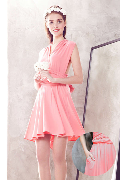 Twenty3 - Marilyn Convertible Bridesmaids Dinner Dress Version III in Rose Pink -  - Bridesmaids - 1