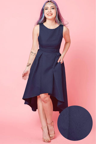 Eudora Skater Dress with High Low Hem in Navy Blue
