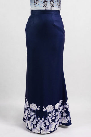 Mireya Maxi Skirt with Placement Floral Print in Navy Blue - Bottoms - Twenty3