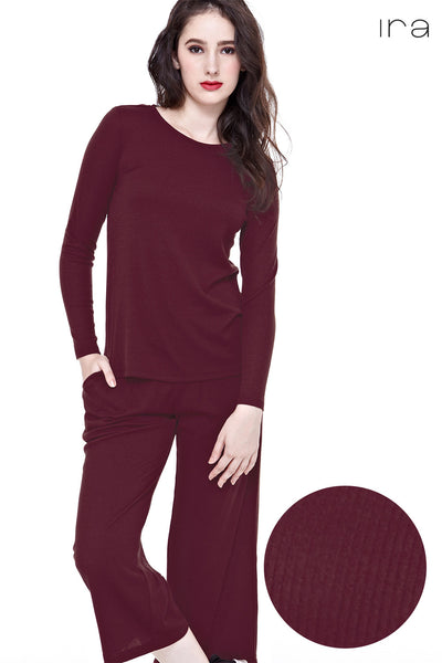 Twenty3 - Kaila Knitted Culottes in Burgundy -  - Bottoms - 1