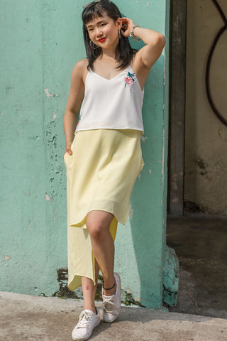 Nella Colour Block Dress in White and Yellow