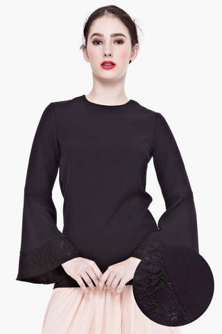 Ninon Lace-overlay Bell Sleeve Top in Black