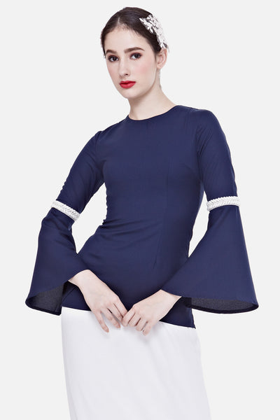 Leena Embellished Bell Sleeved Top in Navy Blue