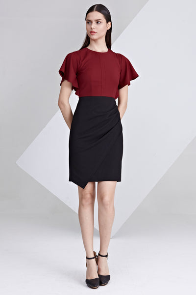Delia Colour Block Sheath Dress in Burgundy and Black