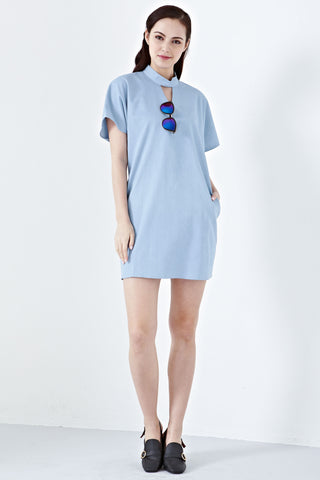 Twenty3 - Madelona Choker Neckline Shift Dress in Denim -  - Dresses - 1