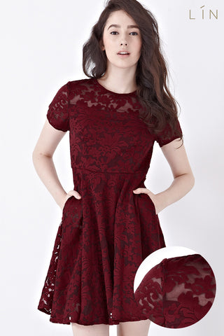 Jenette Skater Dress in Burgundy - Dresses - Twenty3