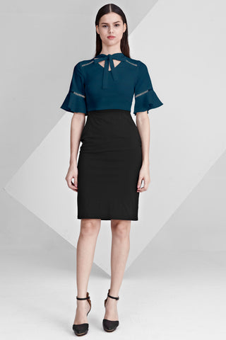 Gwendolen Flute Sleeves Sheath Dress in Teal and Black