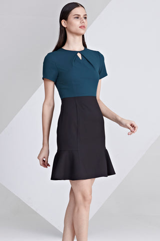 Alvena Colour Block Sheath Dress with Peplum in Teal and Black