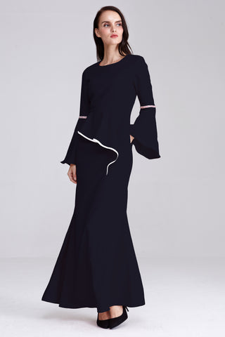 Adelina Flute Sleeves Dress in Navy Blue