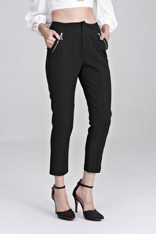 Priya Zipper Detail Tapered Long Pants in Black