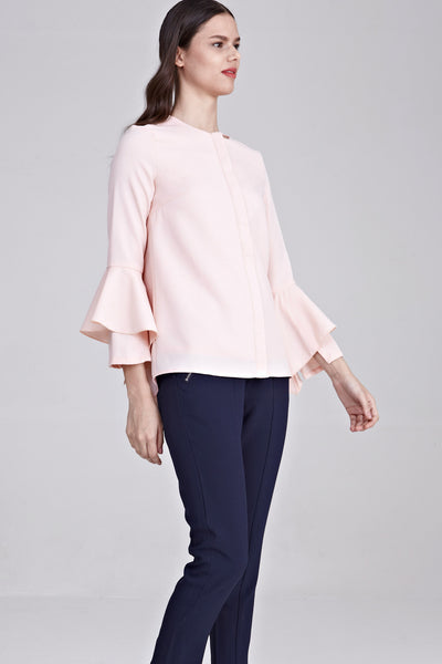 Verandah Flute Sleeves Top in Pink - Tops - Twenty3