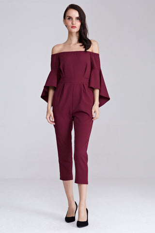 Xoniya Off Shoulder Jumpsuit in Burgundy