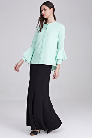 Verandah Flute Sleeves Top in Dusty Green - Tops - Twenty3