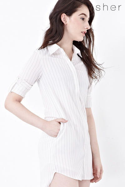 Leticia Shirt Dress in Off-white - Dresses - Twenty3