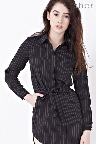 Leticia Shirt Dress in Black - Dresses - Twenty3