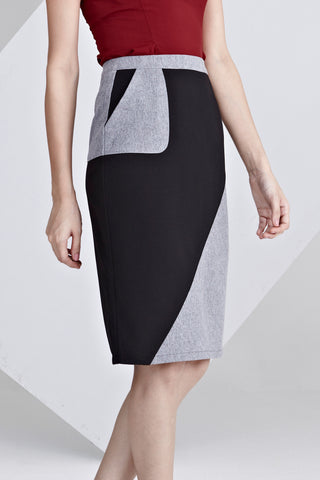 Leone Colour Block Pencil Skirt in Grey and Black