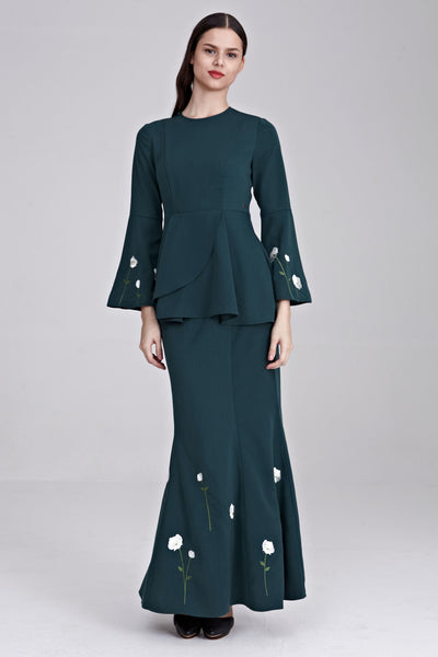 Dynas Peplum Top with Floral Embroidery in Emerald Green