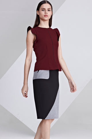 Lottie Ruffle Detail Sleeveless Top in Burgundy