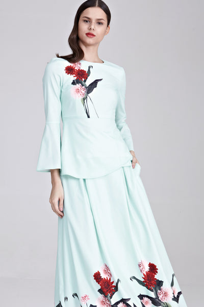 Heliza Flute Sleeves Top with Placement Floral Print in Mint