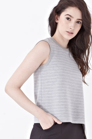 Naomi Sleeveless Top in Grey Stripes - Top - Twenty3