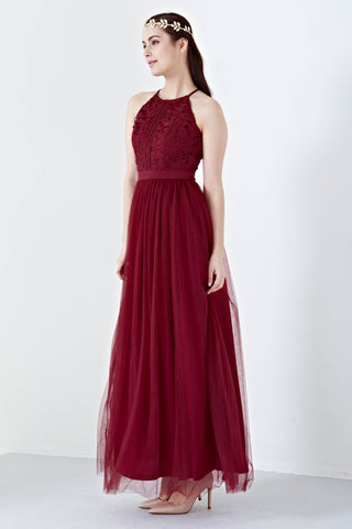 Twenty3 - Jezebel Lace Panel Tulle Bridal Gown in Burgundy -  - Maxi Dress - 1