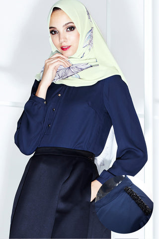 Flore Top in Navy Blue - Tops - Twenty3