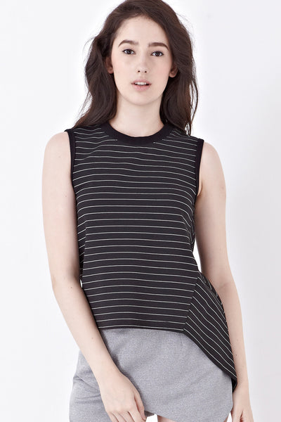 Twenty3 - Naomi Sleeveless Top in Black Stripes -  - Top - 1