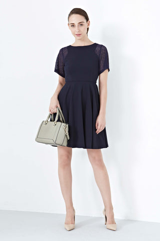 Twenty3 - Brielle Lace Paneled Skater Dress in Navy Blue -  - Dresses - 1