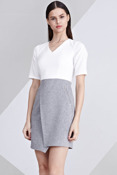 Embry Colour Block Sheath Dress in White and Light Grey