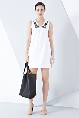 Twenty3 - Athena Shift Dress with Collar Embroidery in White -  - Dresses - 1