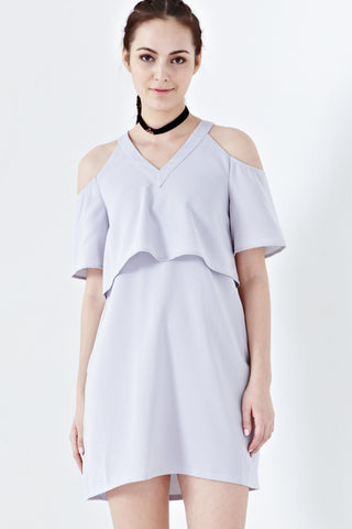 Twenty3 - Dulce Cold-Shoulder Sleeves Shift Dress in Dusty Lilac -  - Dresses - 1