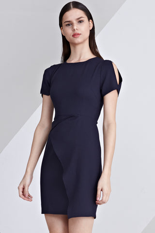 Lucie Twist Detail Bodycon Dress in Navy Blue