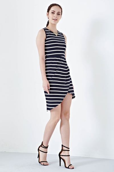 Twenty3 - Xoria Front Drape Sheath Dress in Stripes -  - Dresses - 1