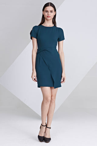 Lucie Twist Detail Bodycon Dress in Teal