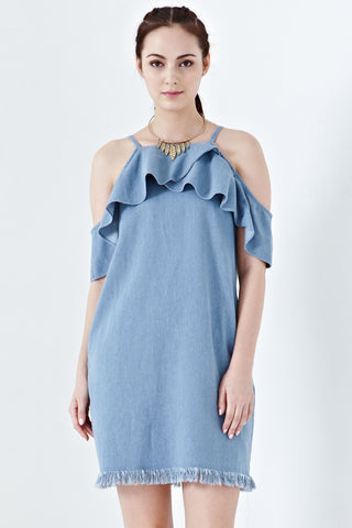 Ferdua Flutter Cold Shoulder Sleeves Shift Dress in Denim