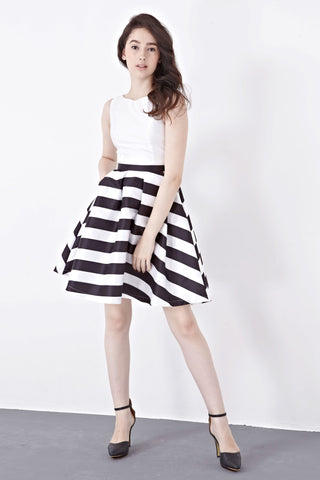 Cynthia Skater Dress in White Stripes - Dresses - Twenty3