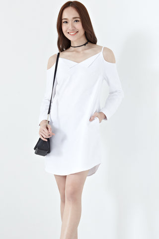 Joan Cold Shoulder Shirt Dress in White - Dresses - Twenty3