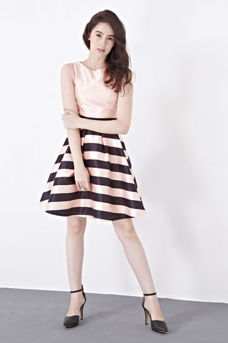 Twenty3 - Cynthia Skater Dress in Peach Stripes -  - Dresses - 1