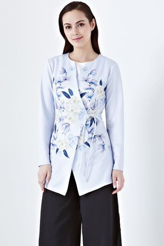 Aila Wrap Front Jacket in Dafeena Prints